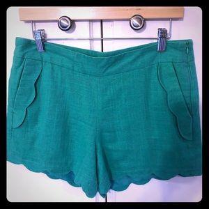 Cynthia Rowley high waisted green shorts